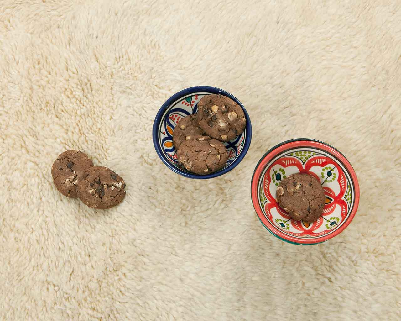 chocolate cookies plain white wool carpet lovely 1