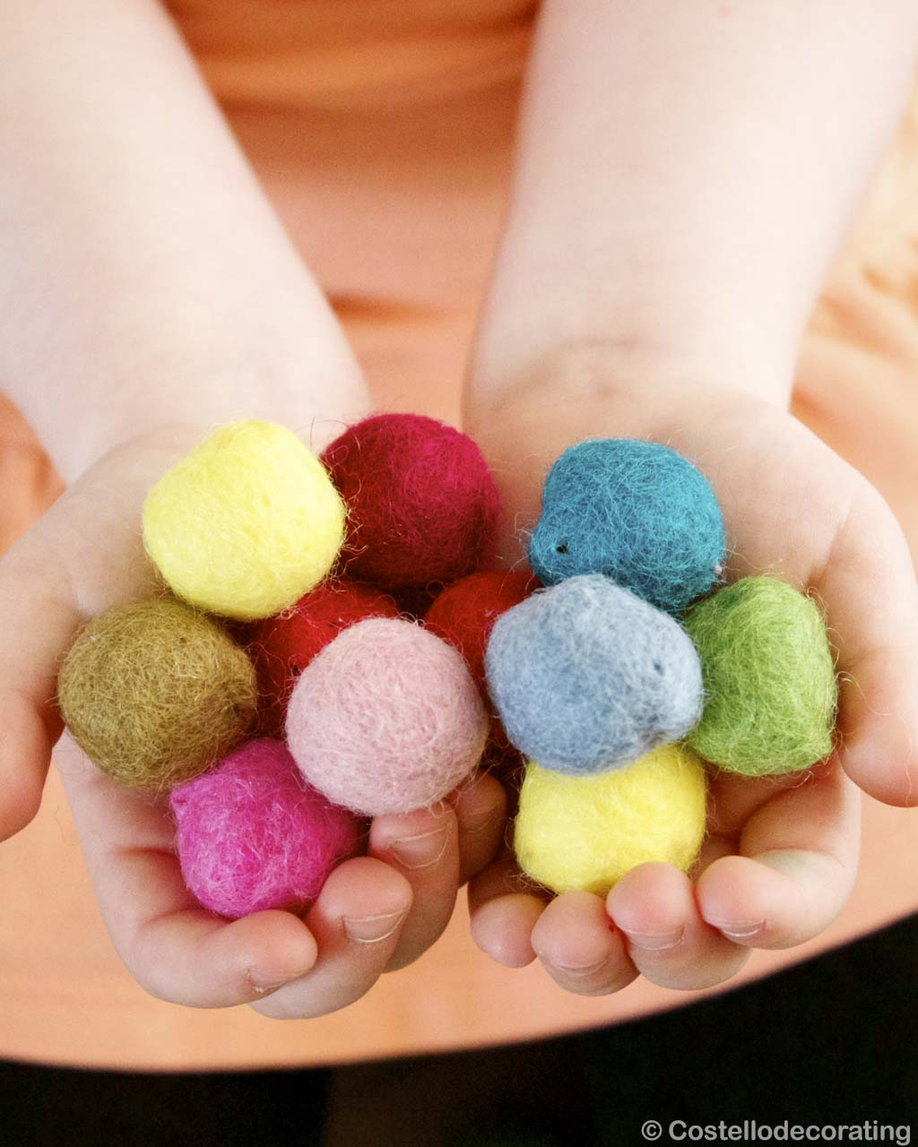raw multiple color felt ball in hand nepalese designer room rugs
