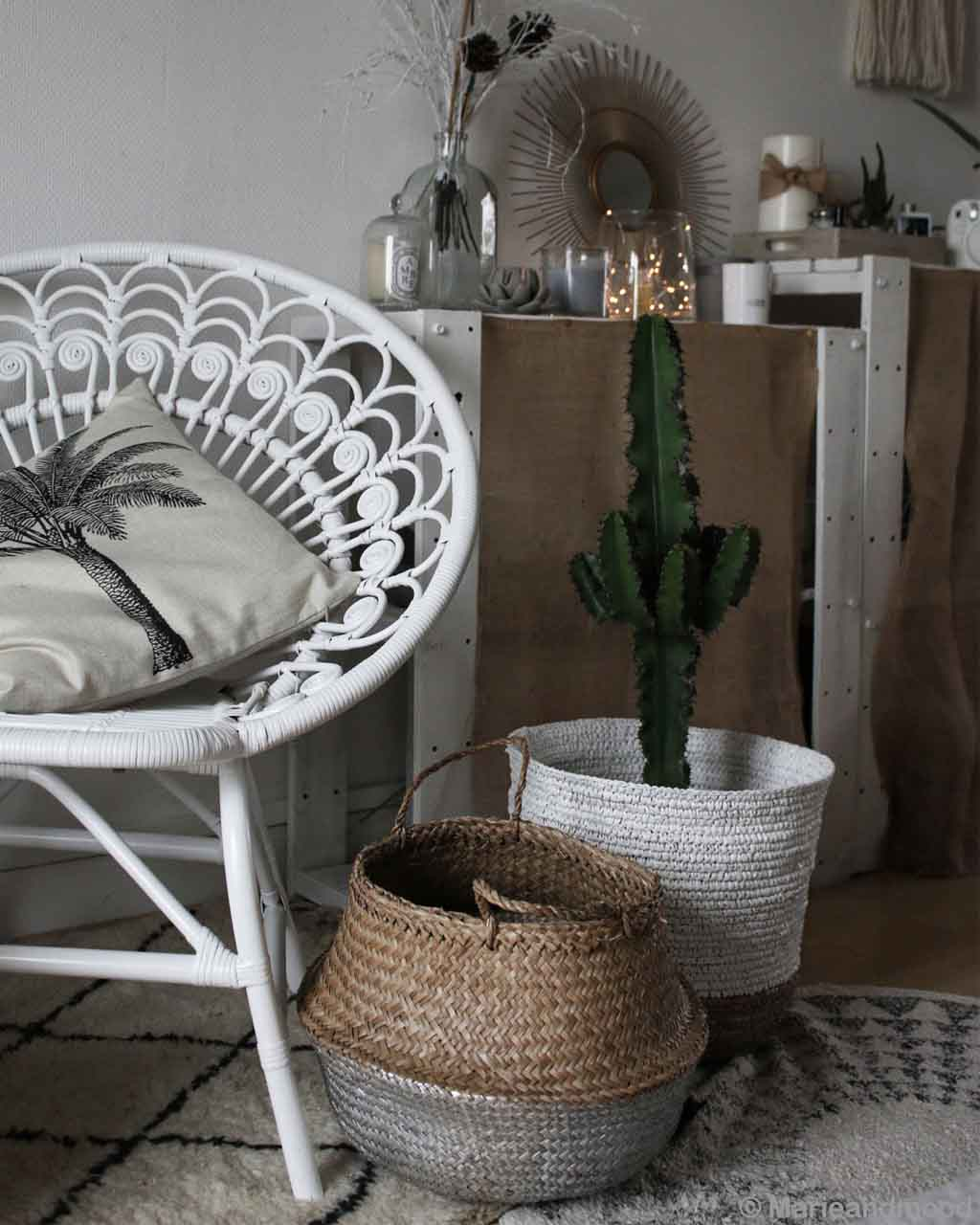 white steel chair and basket from morocco beni ourain rugs