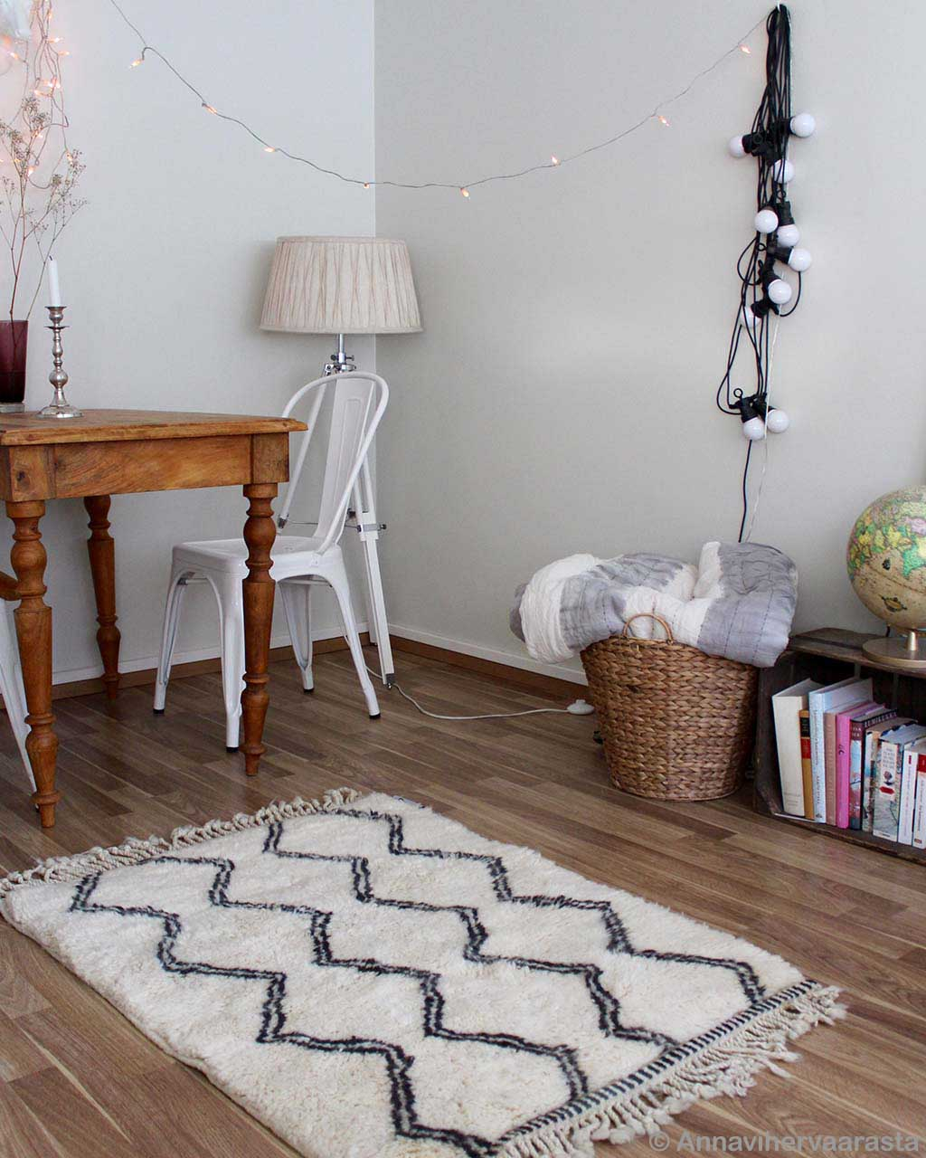 woolen table basket and books berber rugs
