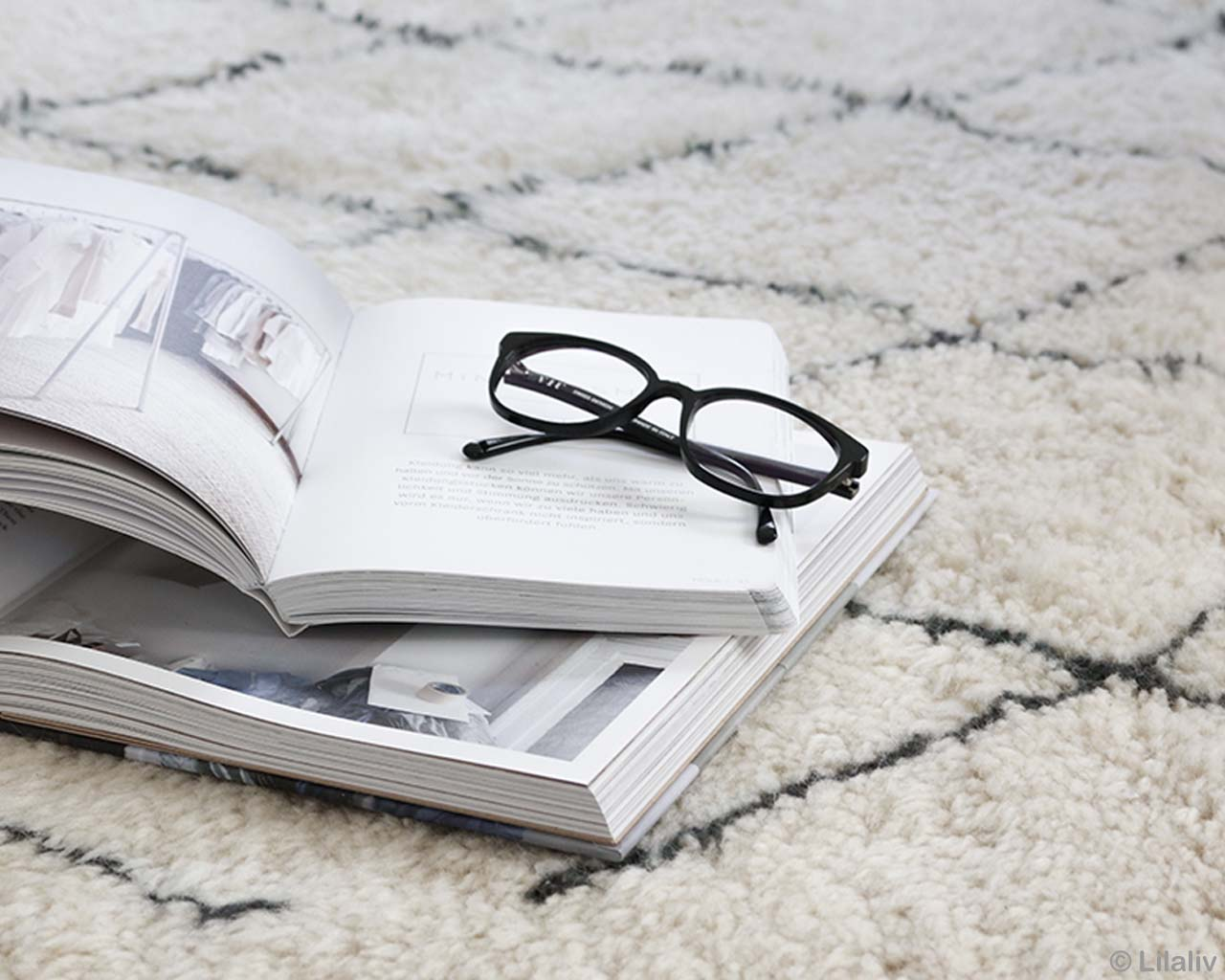 woolen two books and glasses moroccan made modern rugs