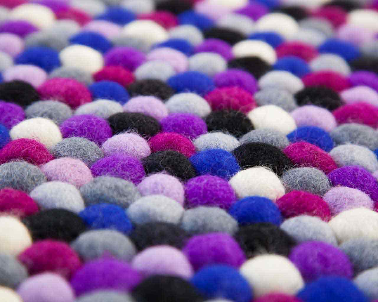 black light purple wool balls