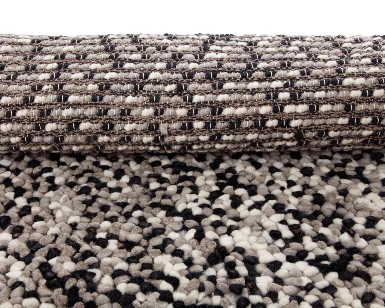 black white grey felted wool rugs india