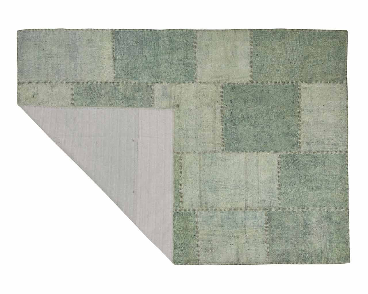 organic hemp rug handwoven turkye patchwork soft green