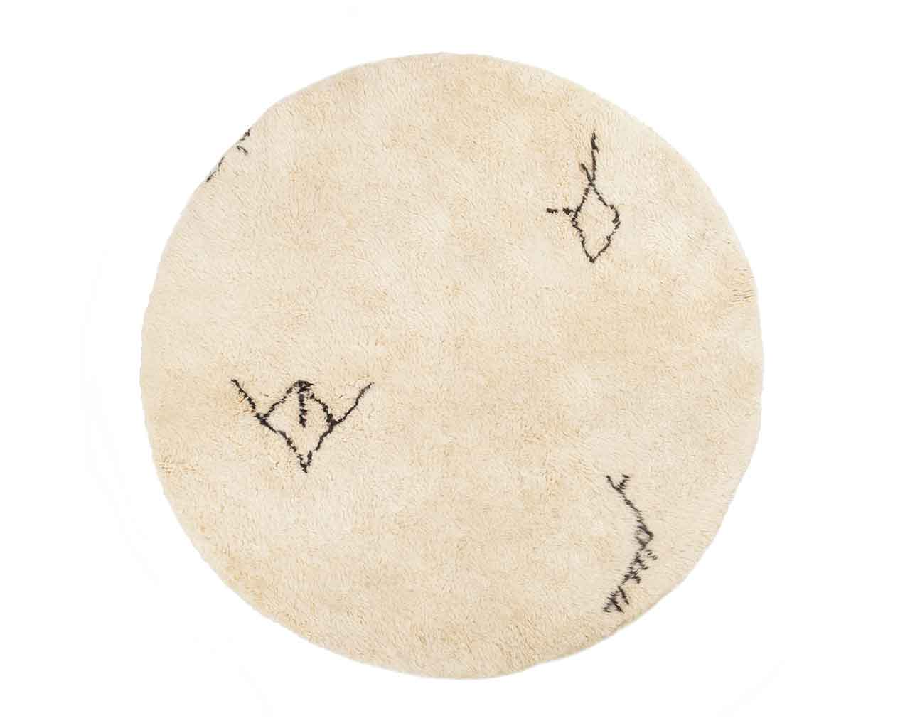 round rugs moroccan wool with original symbols 1