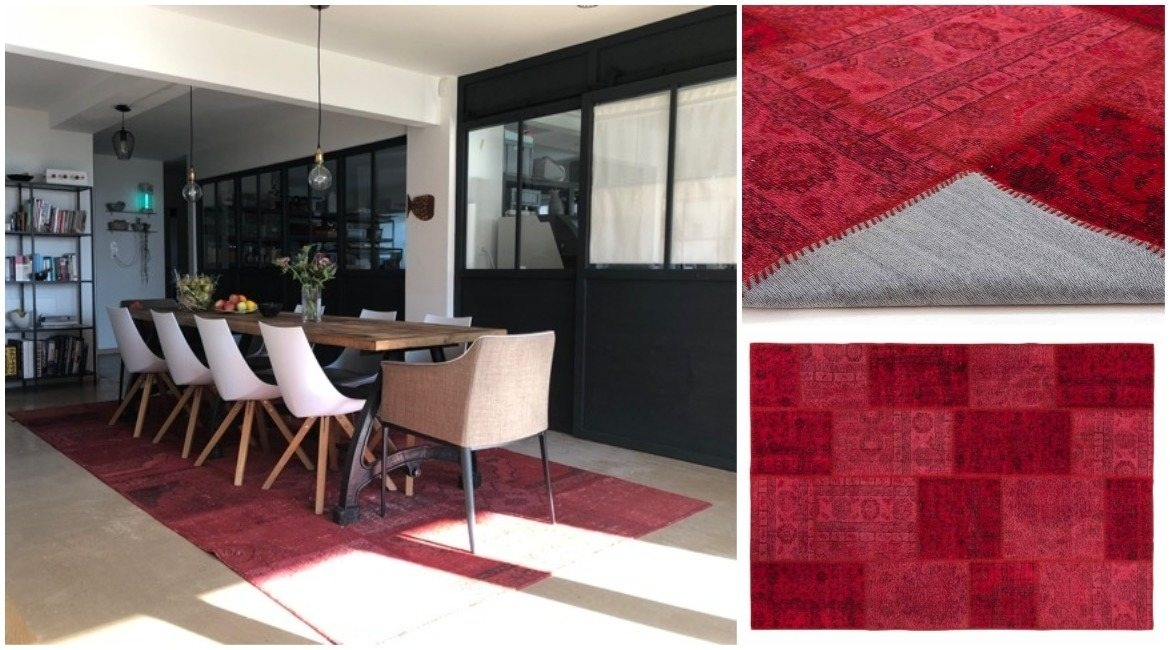red-patchwork-runner-rug-under-dining-table